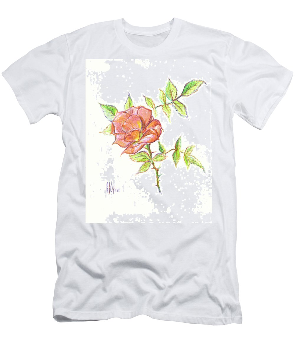 A Rose In Brigadoon Men's T-Shirt (Athletic Fit) featuring the drawing A Rose In Brigadoon by Kip DeVore