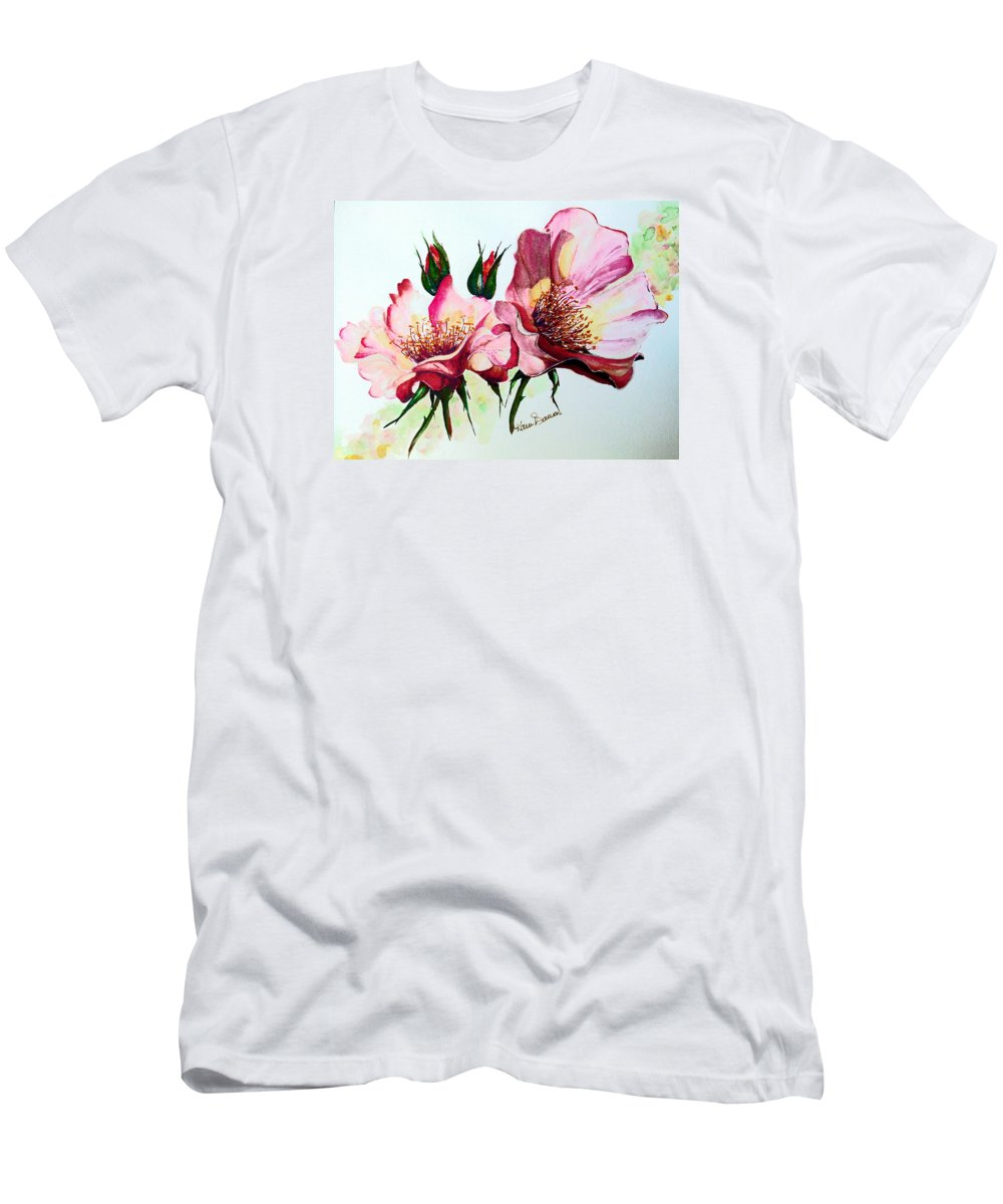 Flower Painting Men's T-Shirt (Athletic Fit) featuring the painting A Rose Is A Rose by Karin Dawn Kelshall- Best