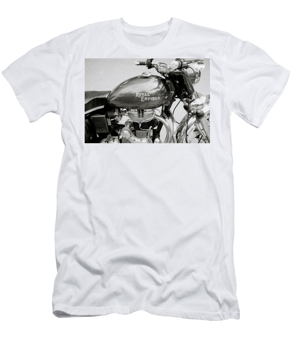 Motorbike Men's T-Shirt (Athletic Fit) featuring the photograph A Royal Enfield Motorbike by Shaun Higson