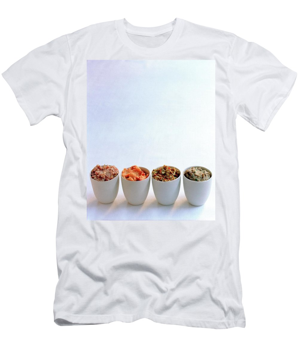 Condiment Men's T-Shirt (Athletic Fit) featuring the photograph A Selection Of Spreads by Romulo Yanes