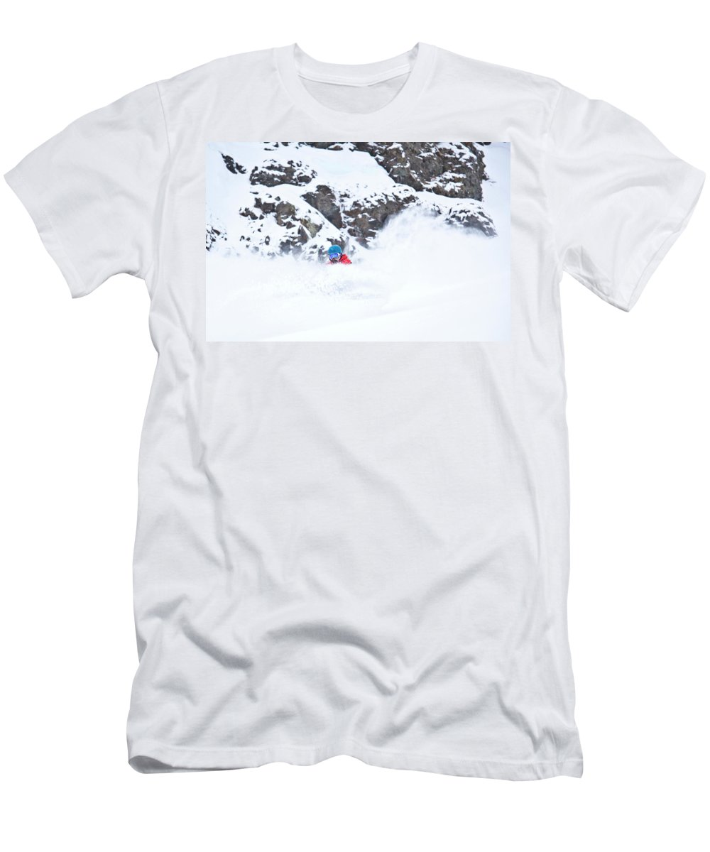 Colorado Men's T-Shirt (Athletic Fit) featuring the photograph A Snowboarder Riding Through Powder by Rob Hammer