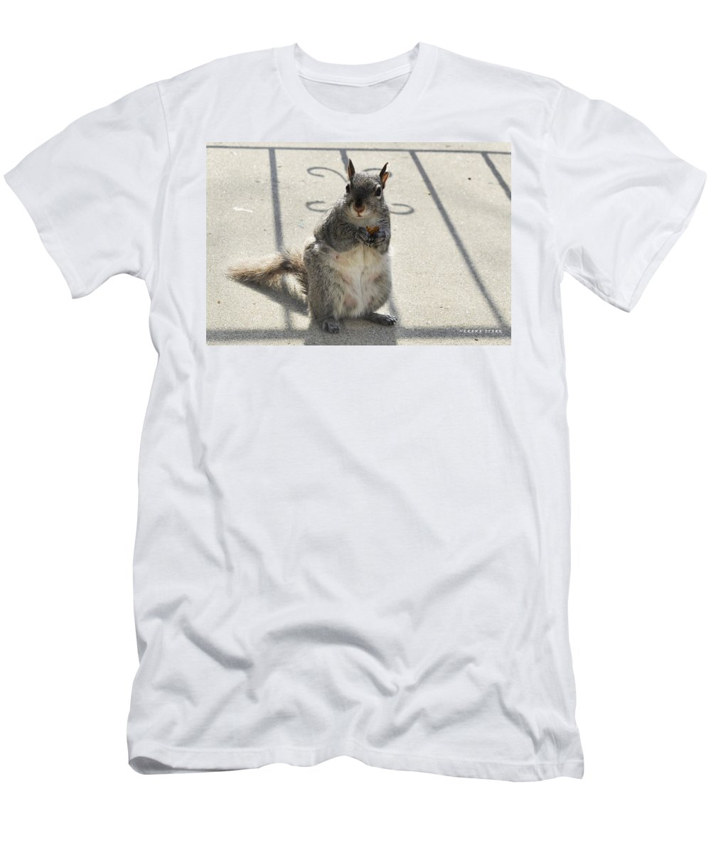 Squirrel Men's T-Shirt (Athletic Fit) featuring the photograph A Squirrel Known As Chippy by Verana Stark
