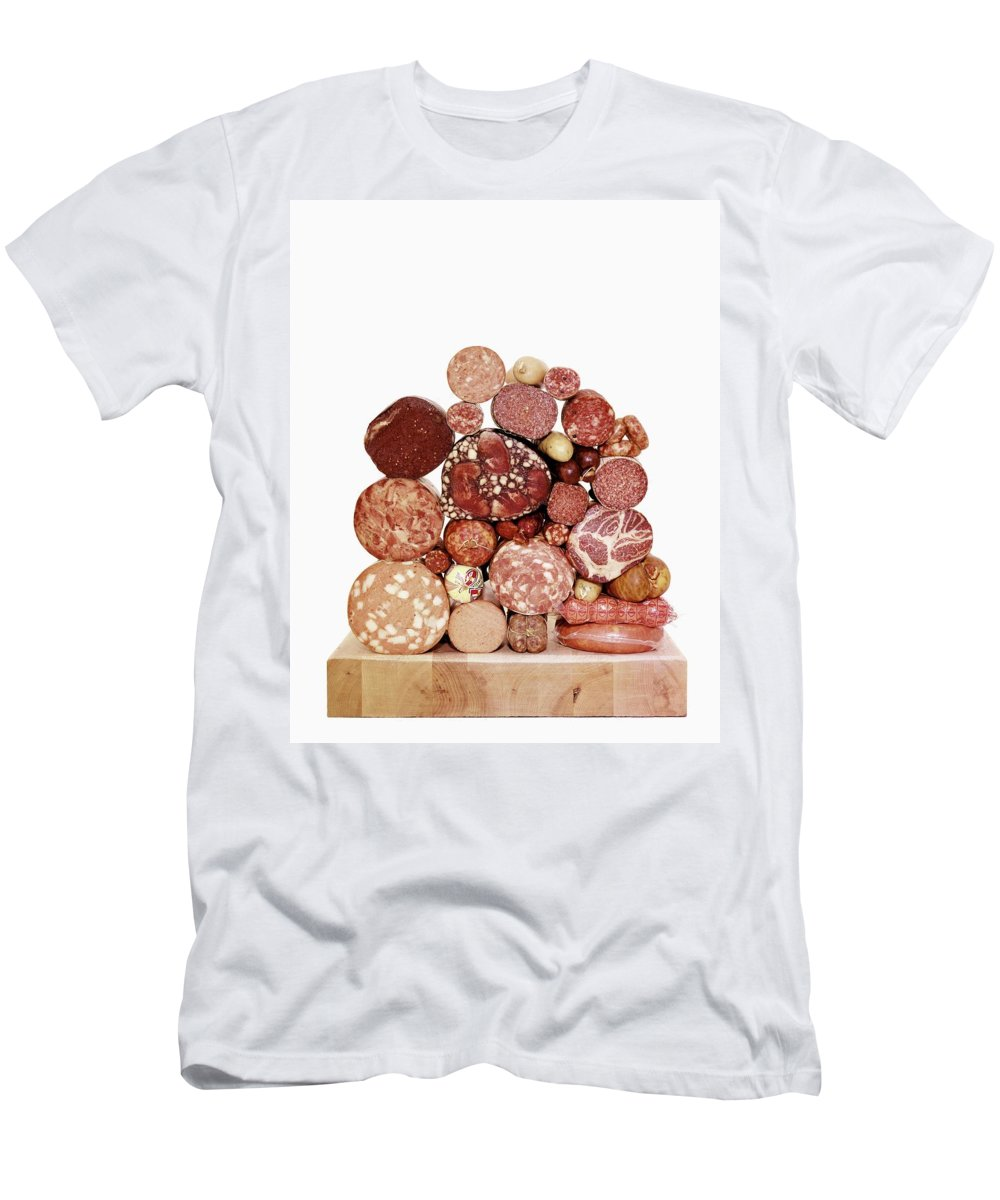 Studio Shot Men's T-Shirt (Athletic Fit) featuring the photograph A Stack Of Sausages by Fernand Fonssagrives