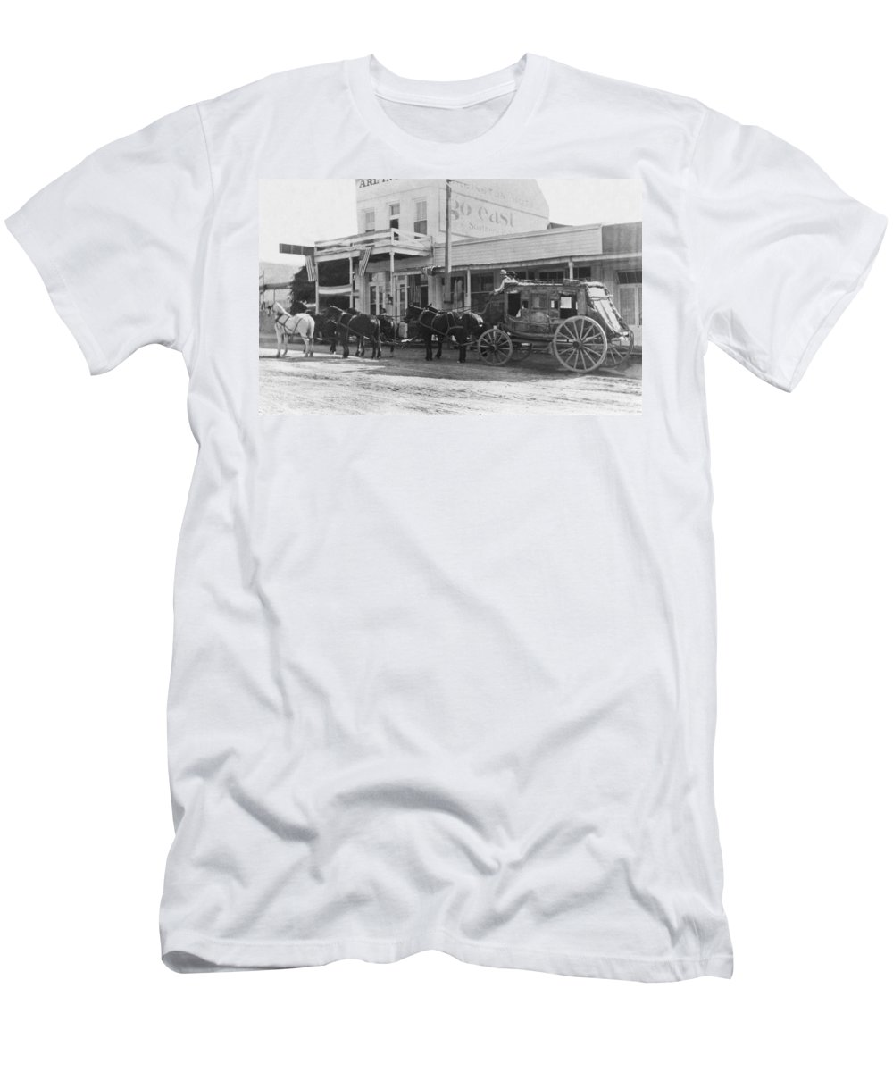1882 Men's T-Shirt (Athletic Fit) featuring the photograph A Stagecoach In Tombstone by Underwood Archives