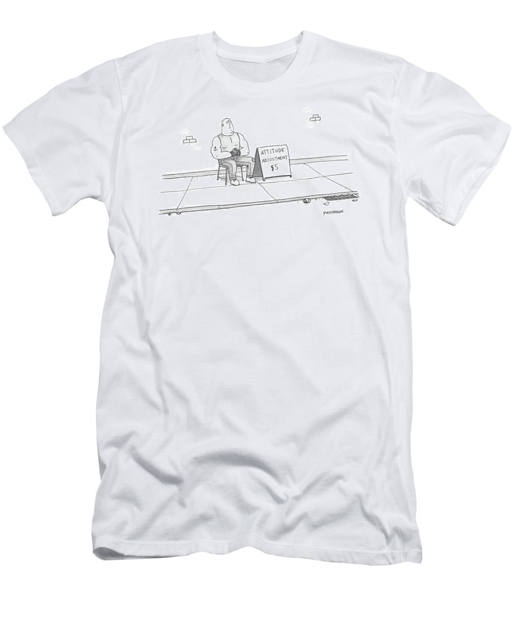 Captionless Men's T-Shirt (Athletic Fit) featuring the drawing A Strong Man With A Tattoo Of An Anchor by Jason Patterson