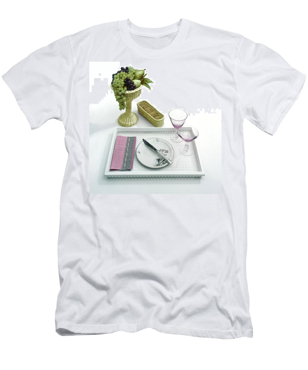 Home Men's T-Shirt (Athletic Fit) featuring the photograph A Summer Table Setting On A Tray by Haanel Cassidy