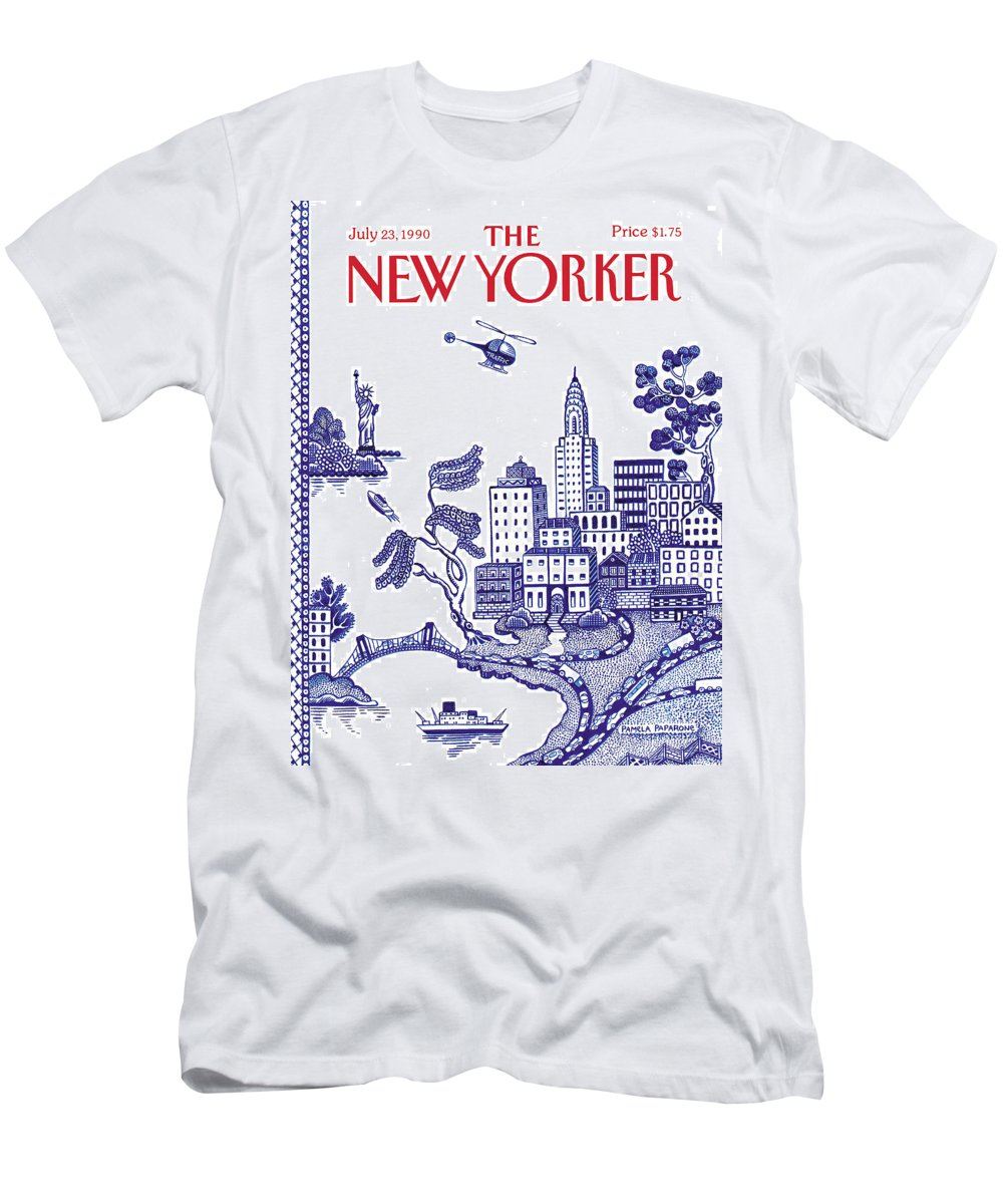 New York City T-Shirt featuring the painting A View Of New York City by Pamela Paparone