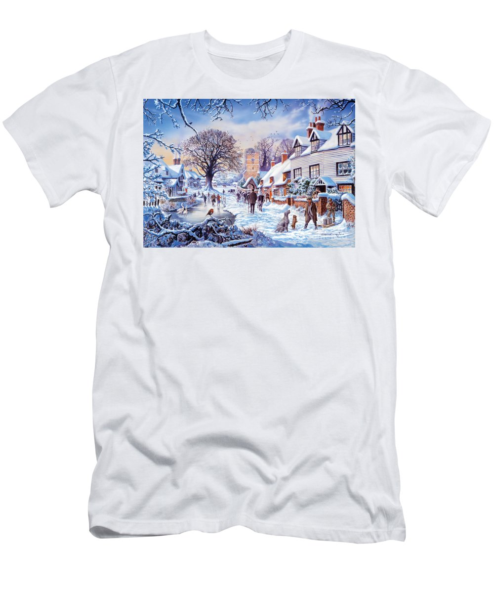 Animal Men's T-Shirt (Athletic Fit) featuring the digital art A Village In Winter by Steve Crisp