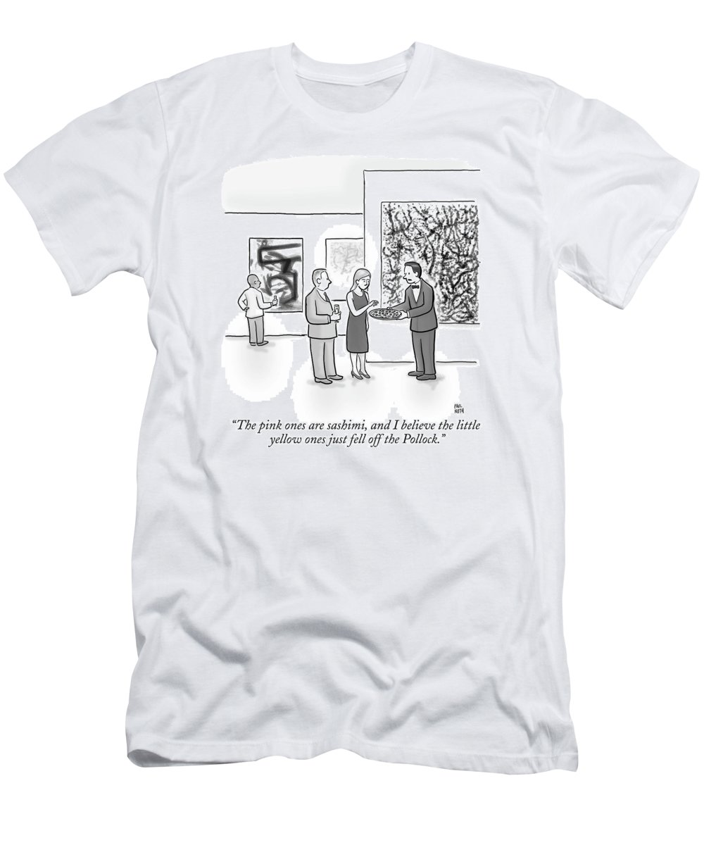 Art Galleries T-Shirt featuring the drawing A Waiter Is Seen Speaking With A Woman In An Art by Paul Noth