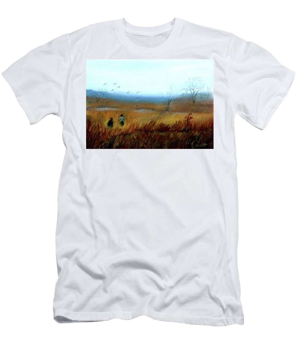 Figures Men's T-Shirt (Athletic Fit) featuring the painting A Winter Walk by Gail Kirtz