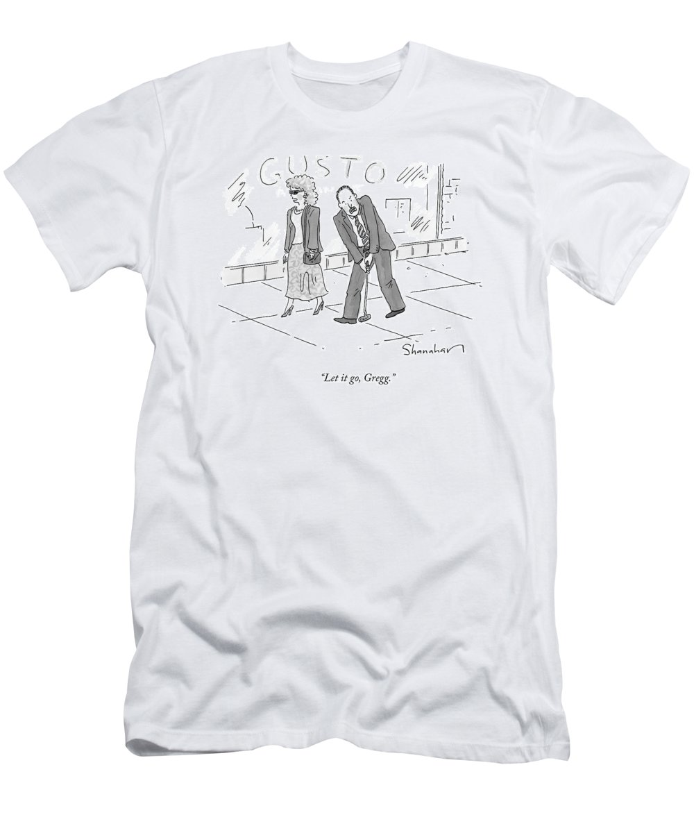 Golf Men's T-Shirt (Athletic Fit) featuring the drawing A Woman And A Man Walk Side By Side. The Man by Danny Shanahan