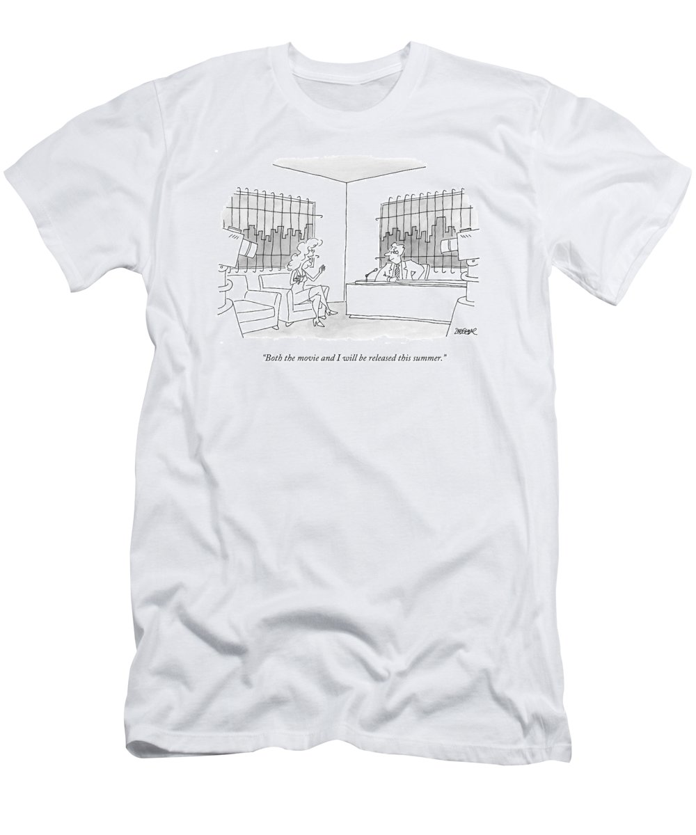 Cctk. Bars Men's T-Shirt (Athletic Fit) featuring the drawing A Woman Is Being Interviewed By A Man by Jack Ziegler