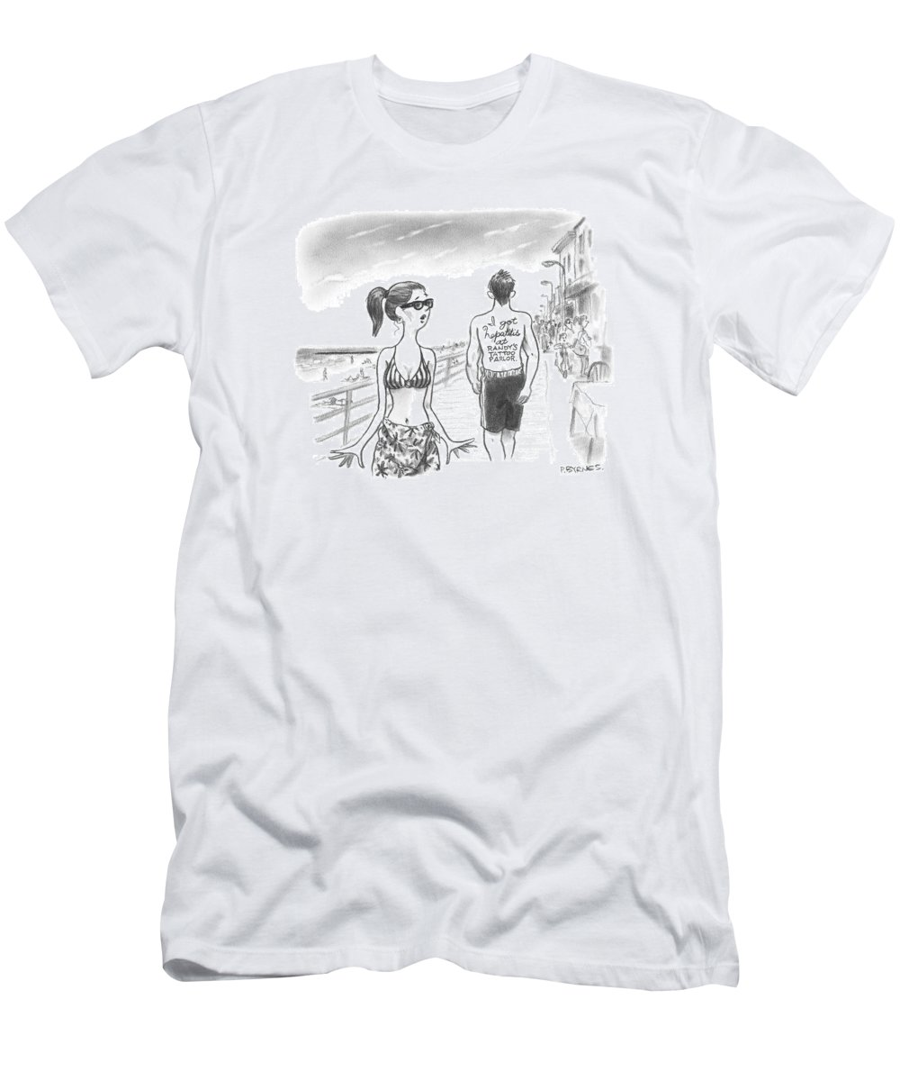 A Woman Passes A Man On The Boardwalk. Tattooed T-Shirt for Sale by ...