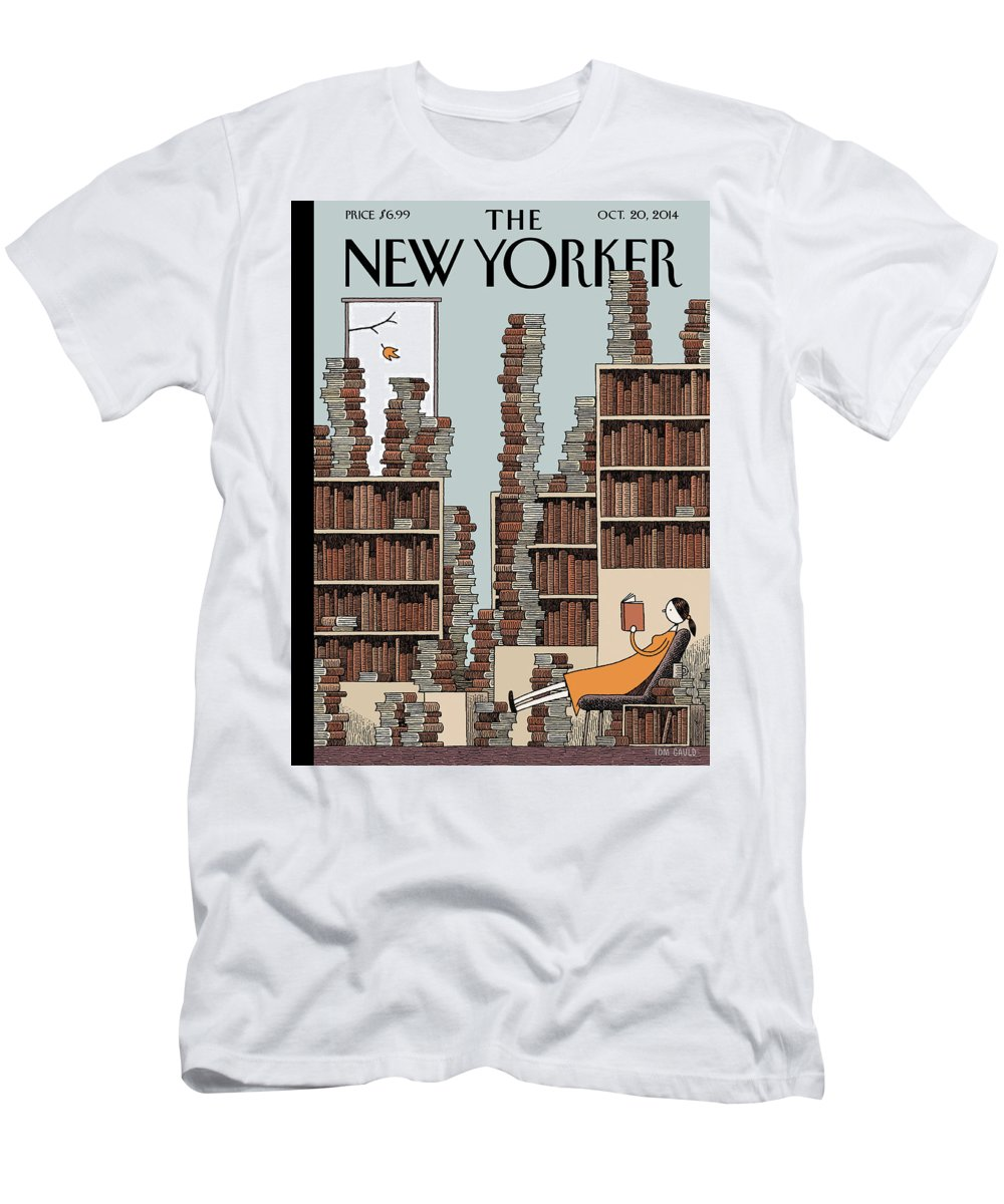 Books Men's T-Shirt (Athletic Fit) featuring the painting Fall Library by Tom Gauld