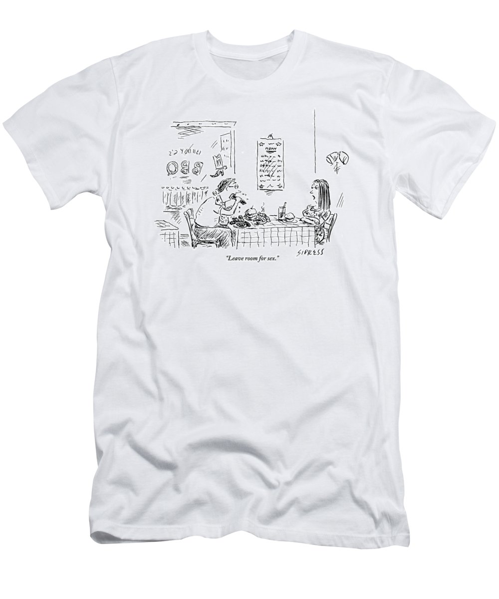 Food T-Shirt featuring the drawing A Woman With Her Arms Crossed Addresses by David Sipress