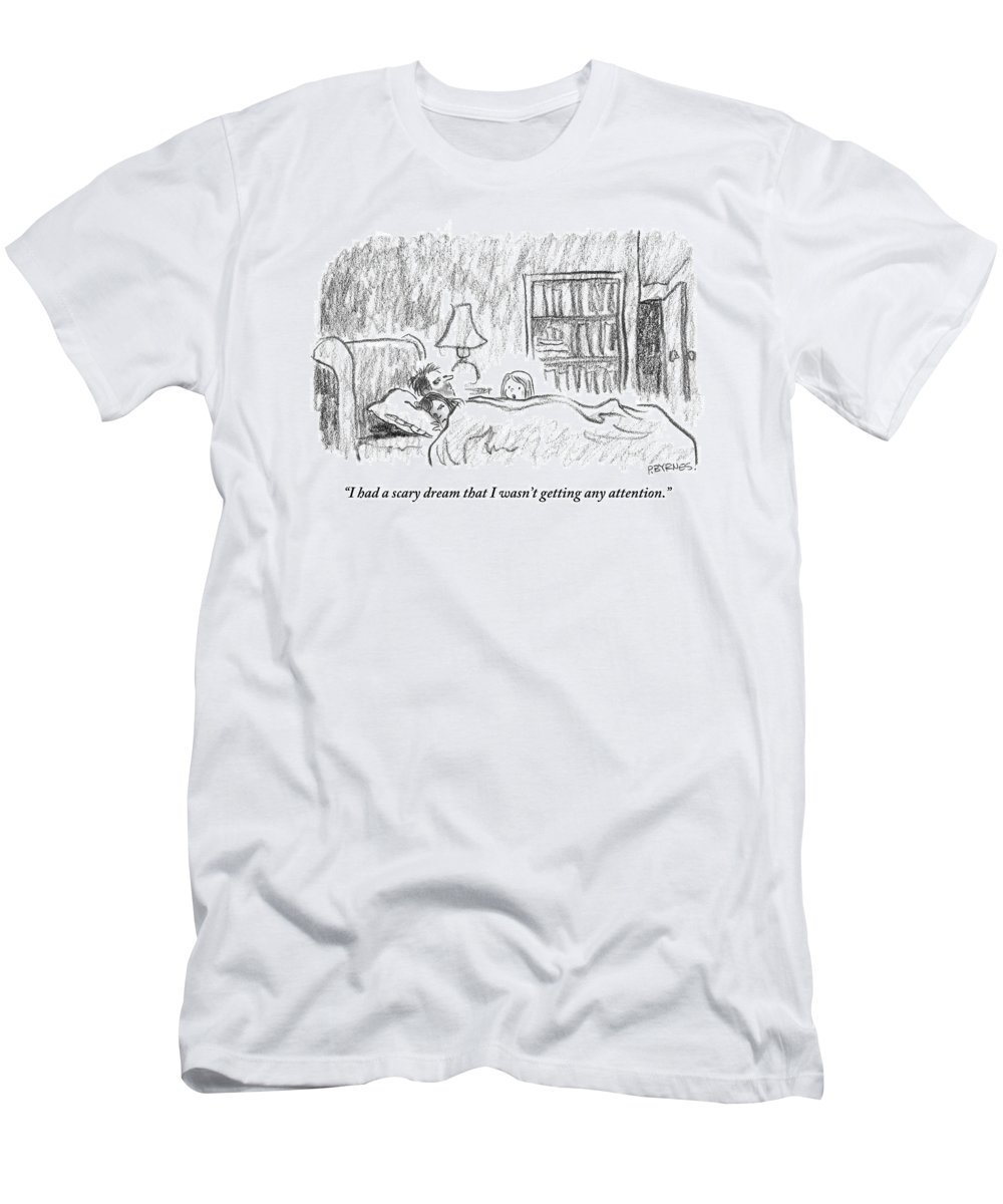 Sleep - Dreams T-Shirt featuring the drawing A Young Girl Wakes Up Her Sleeping Parents by Pat Byrnes