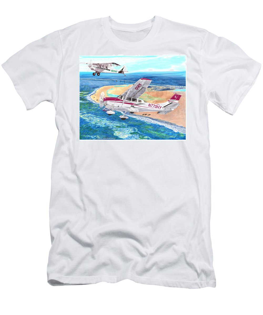 Watercolor Painting Of 2007 Cessna 206 And A1a Aviat Husky By Jack Pumphrey Men's T-Shirt (Athletic Fit) featuring the painting Cessna 206 And A1a Husky by Jack Pumphrey