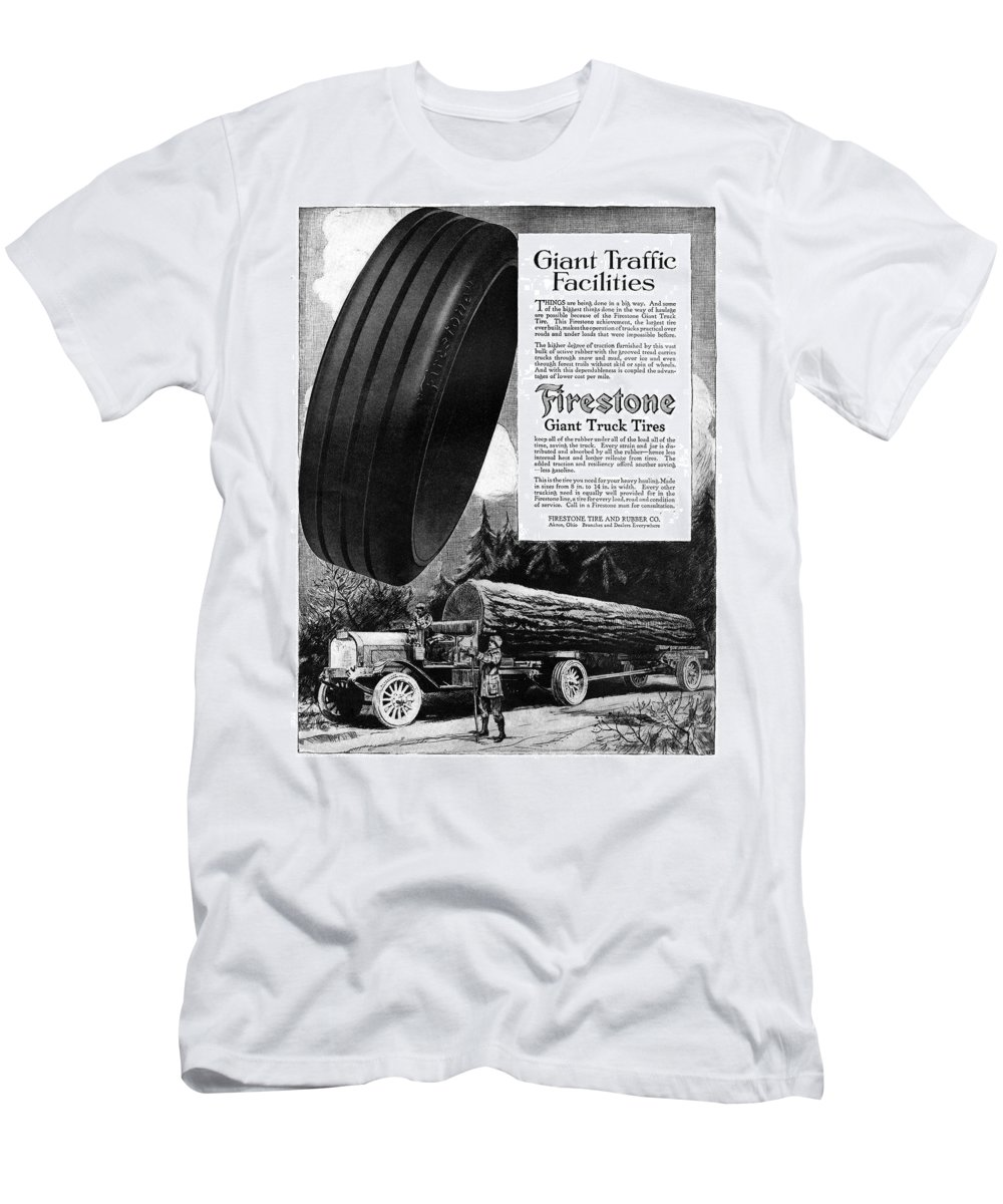 1918 T-Shirt featuring the painting Ad Firestone, 1918 by Granger