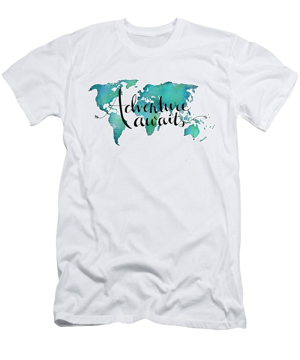 Adventure Awaits Travel Quote On World Map T Shirt For Sale By