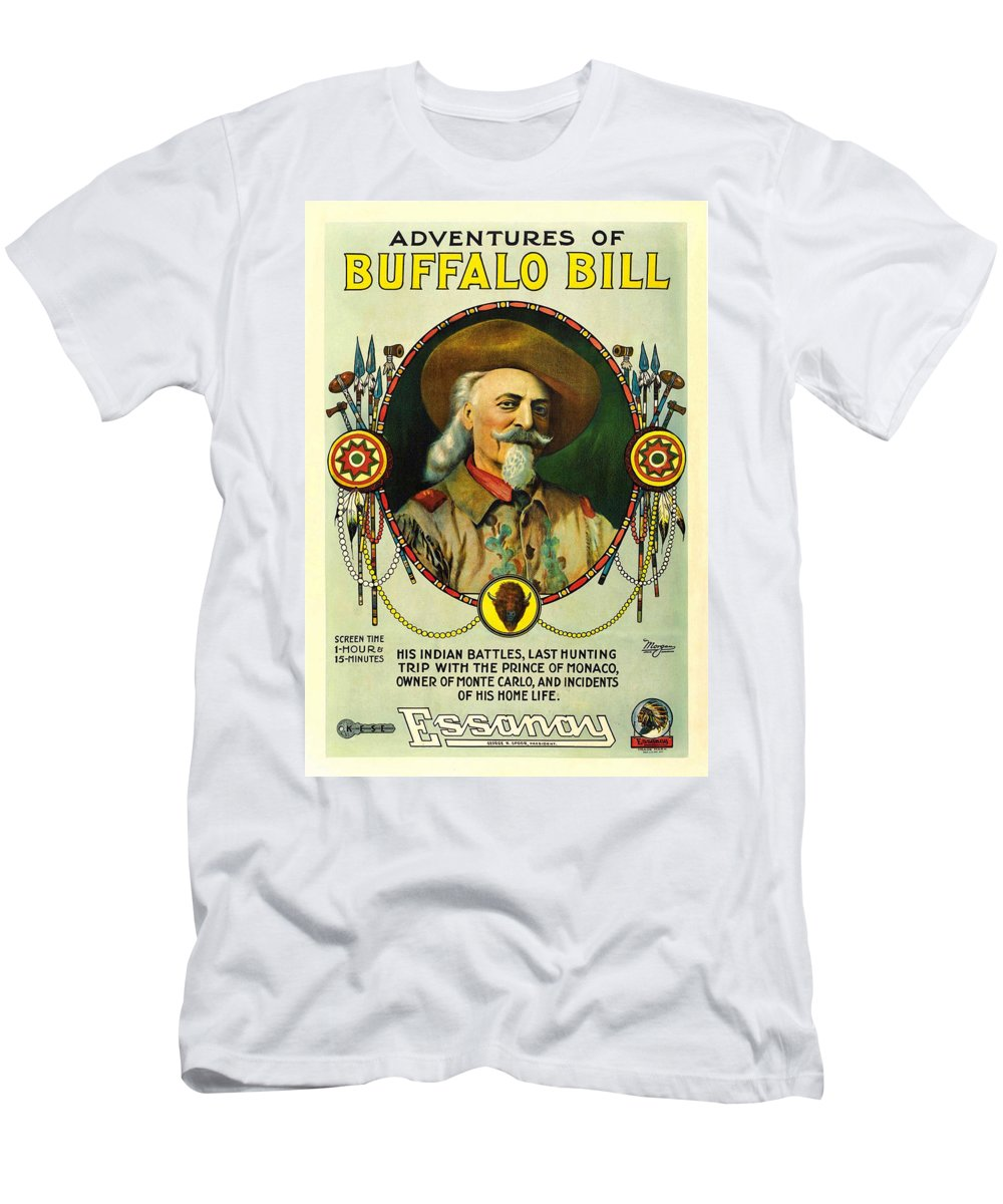 Buffalo Bill Men's T-Shirt (Athletic Fit) featuring the photograph Adventures Of Buffalo Bill by Movie Poster Prints