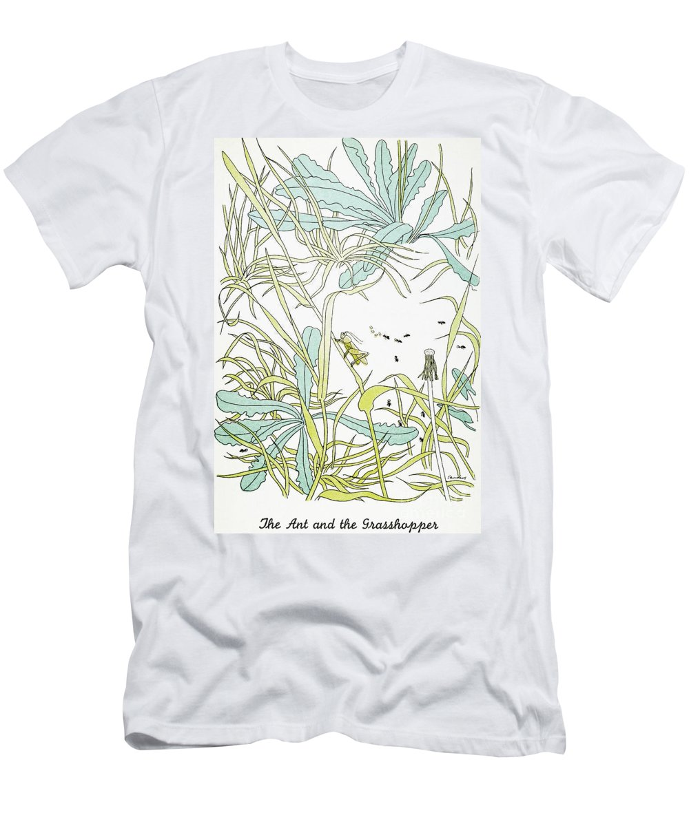 Aesop Men's T-Shirt (Athletic Fit) featuring the photograph Aesop: Ant & Grasshopper by Granger
