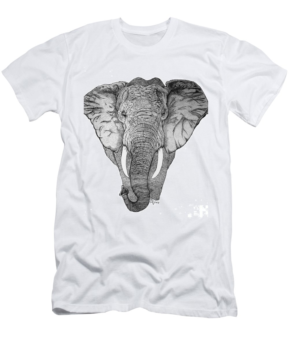Elephant African Nature Wildlife Animal Elephants Animals Pen And Ink Elephant Men's T-Shirt (Athletic Fit) featuring the drawing African Elephant by Nick Gustafson