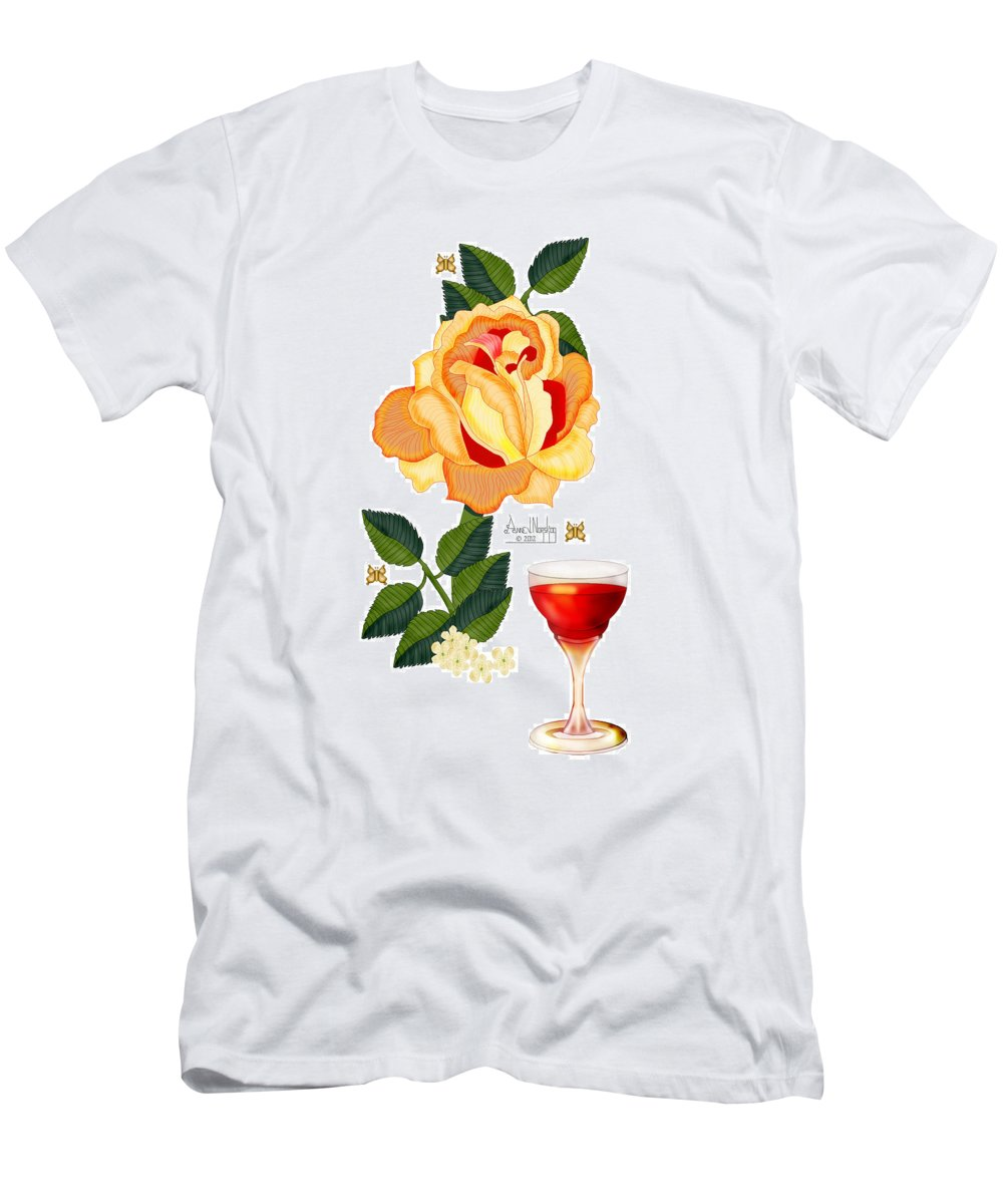 Orange Rose Men's T-Shirt (Athletic Fit) featuring the painting After Glow by Anne Norskog