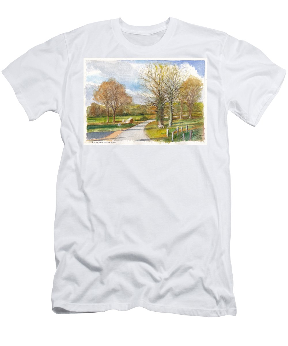 France Men's T-Shirt (Athletic Fit) featuring the painting Afternoon In The Auvergne Countryside In Central France by Dai Wynn