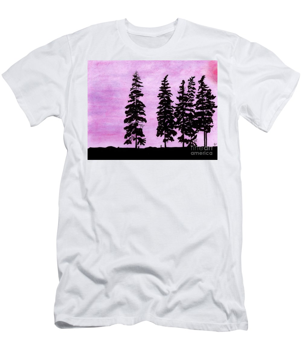 Alaska Men's T-Shirt (Athletic Fit) featuring the drawing Colorful - Alaska - Sunset by D Hackett