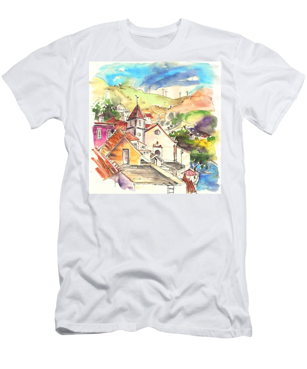 Portugal Men's T-Shirt (Athletic Fit) featuring the painting Alcoutim In Portugal 07 by Miki De Goodaboom