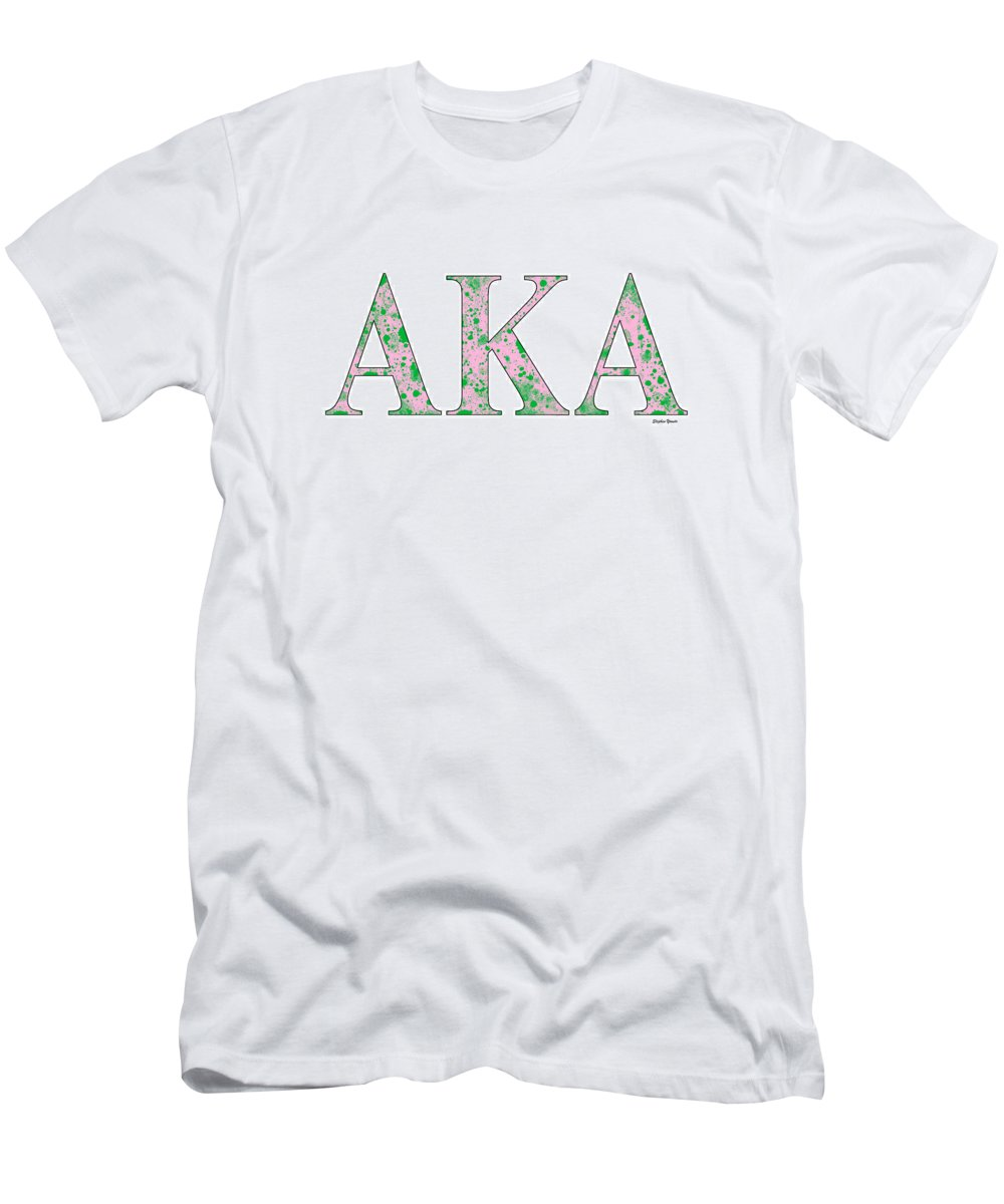 Alpha Kappa Alpha Men's T-Shirt (Athletic Fit) featuring the digital art Alpha Kappa Alpha - White by Stephen Younts