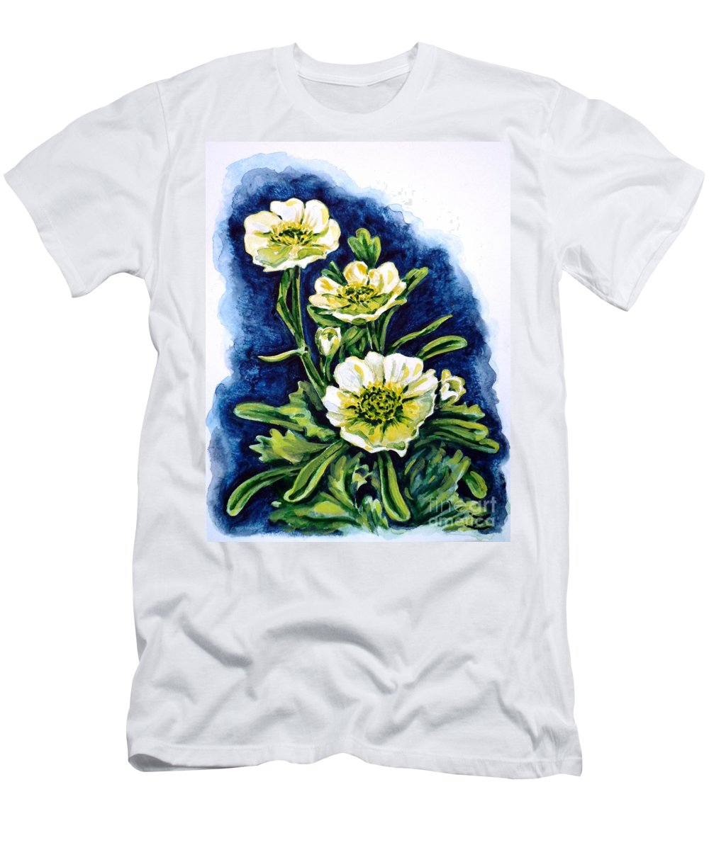 Alpine Ranunculus Men's T-Shirt (Athletic Fit) featuring the painting Alpine Ranunculus by Zaira Dzhaubaeva
