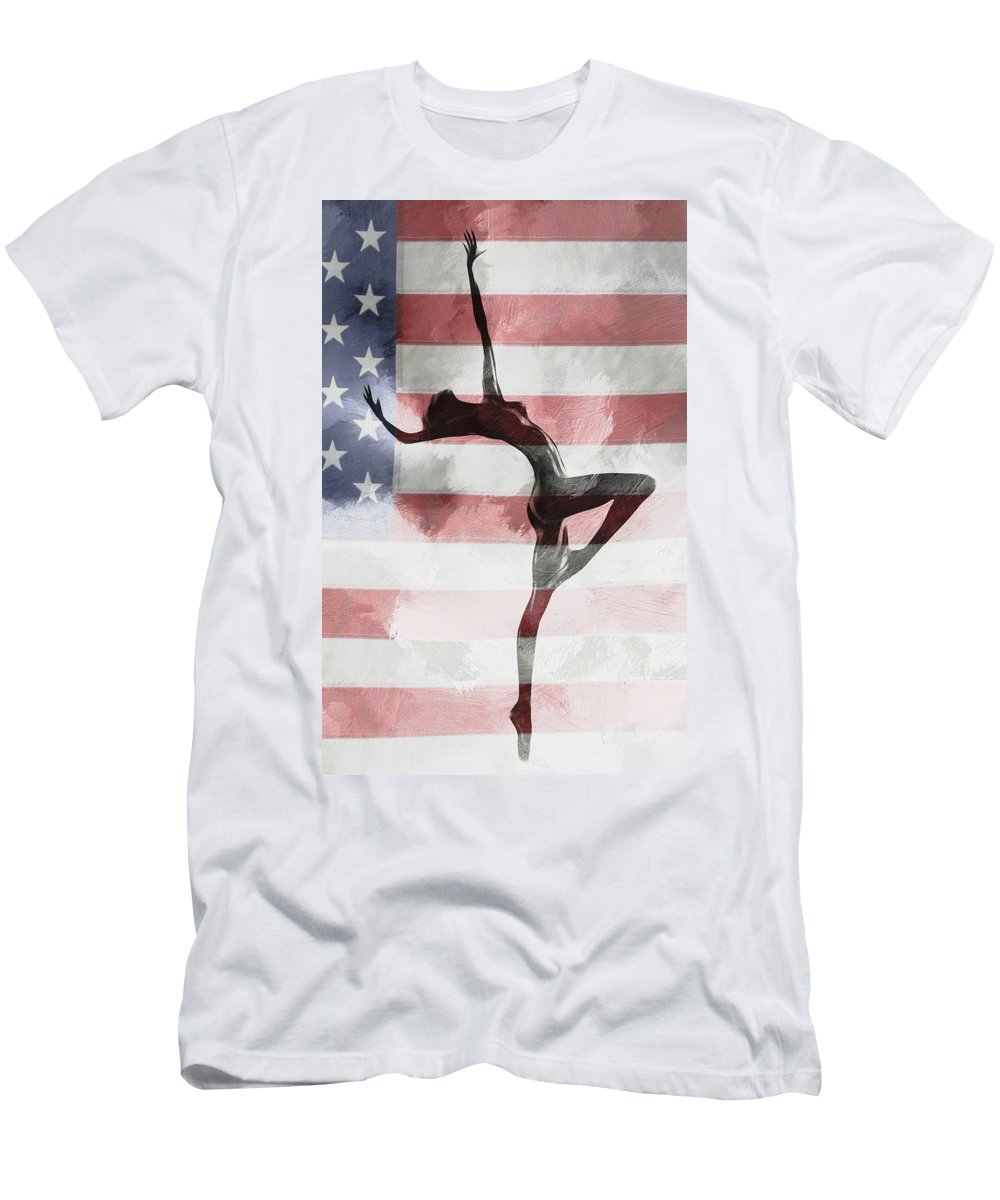 American Beauty Ballet Ballerina Flag Usa Stars Stripes Erotic Expressionism Painting Nude Naked Sexy Dance Dancer Dancing Woman Girl Female Men's T-Shirt (Athletic Fit) featuring the painting American Beauty by Steve K
