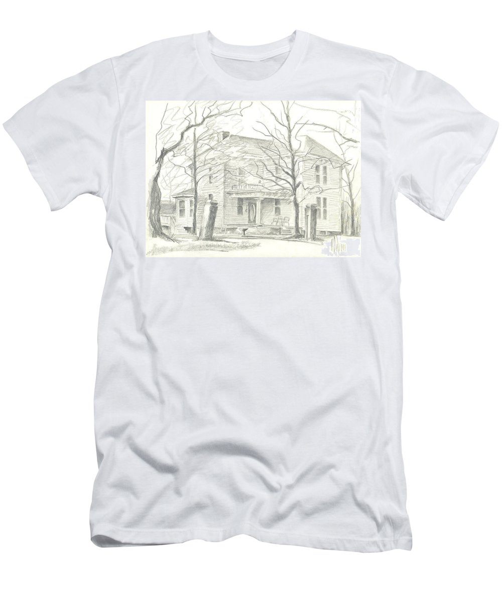 American Home Ii Men's T-Shirt (Athletic Fit) featuring the drawing American Home II by Kip DeVore
