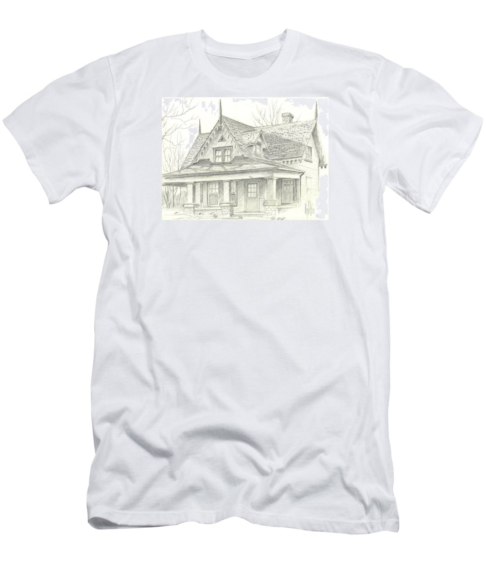 American Home Men's T-Shirt (Athletic Fit) featuring the drawing American Home by Kip DeVore