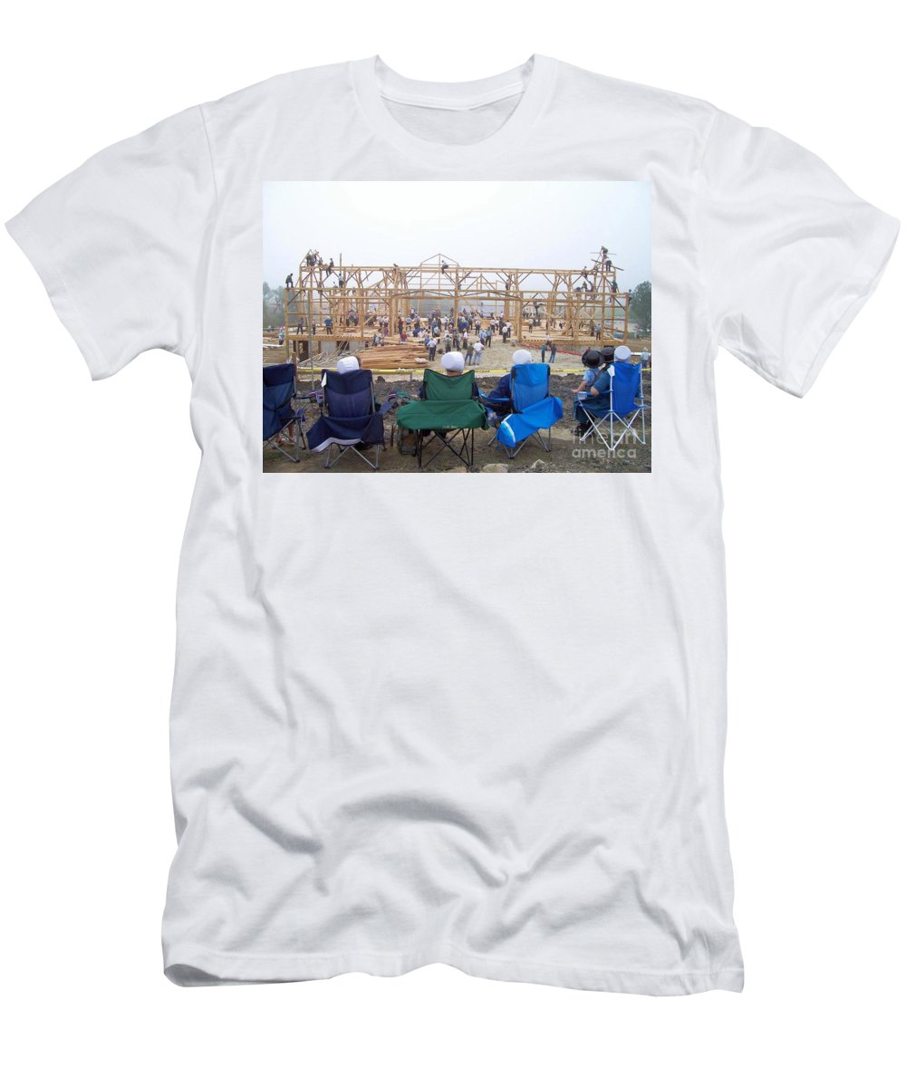 Amish Barn Raising Photography Men's T-Shirt (Athletic Fit) featuring the photograph Amish Barn Raising by R A W M
