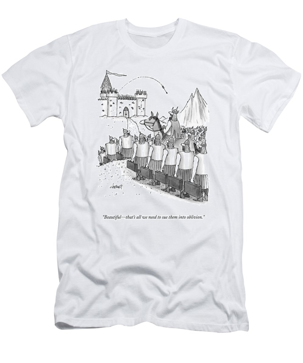 Lawsuits Men's T-Shirt (Athletic Fit) featuring the drawing An Army Of Vikings Hold Briefcases by Tom Cheney