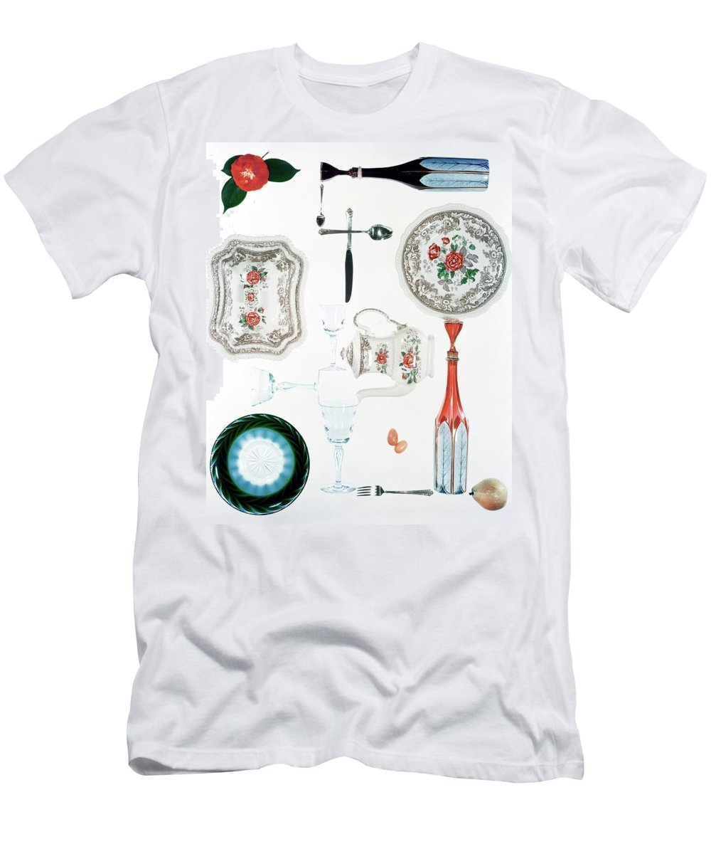 Studio Shot Men's T-Shirt (Athletic Fit) featuring the photograph An Assortment Of Crockery by Herbert Matter