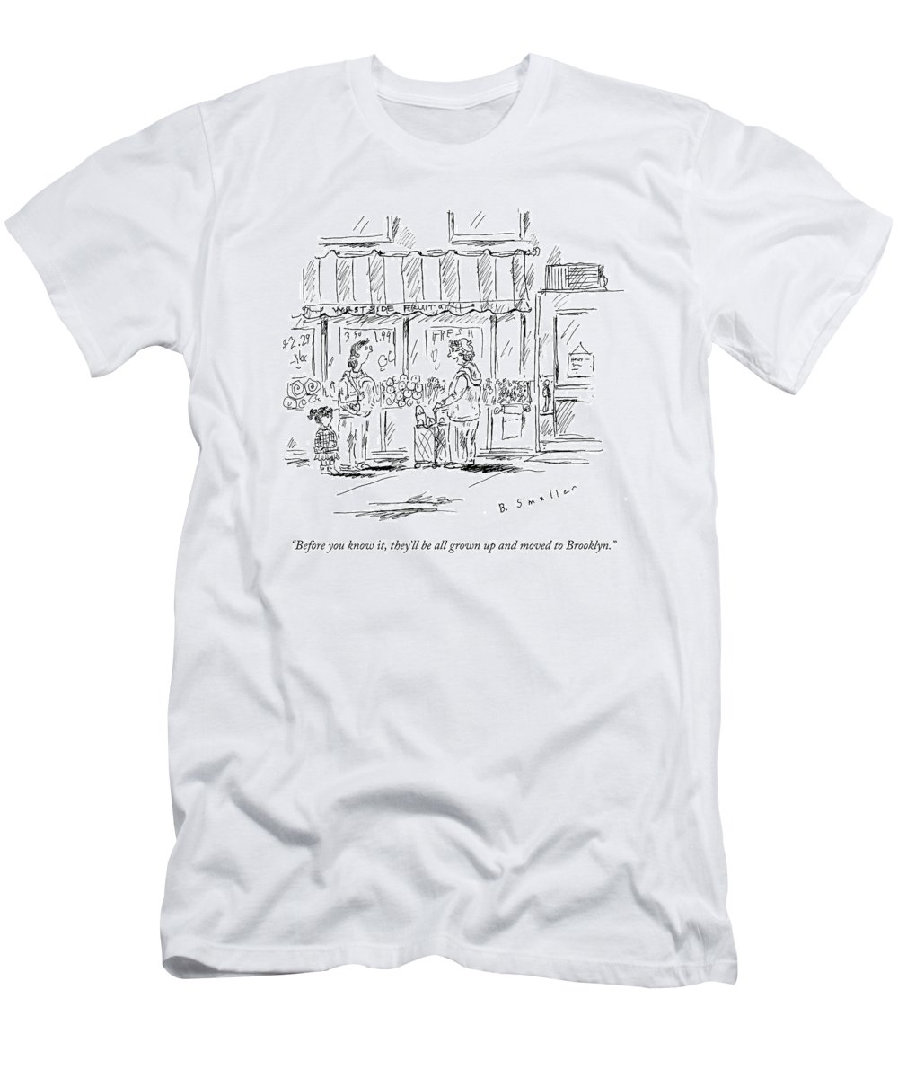Children T-Shirt featuring the drawing An Older Woman Talks To A Middle Aged Woman by Barbara Smaller