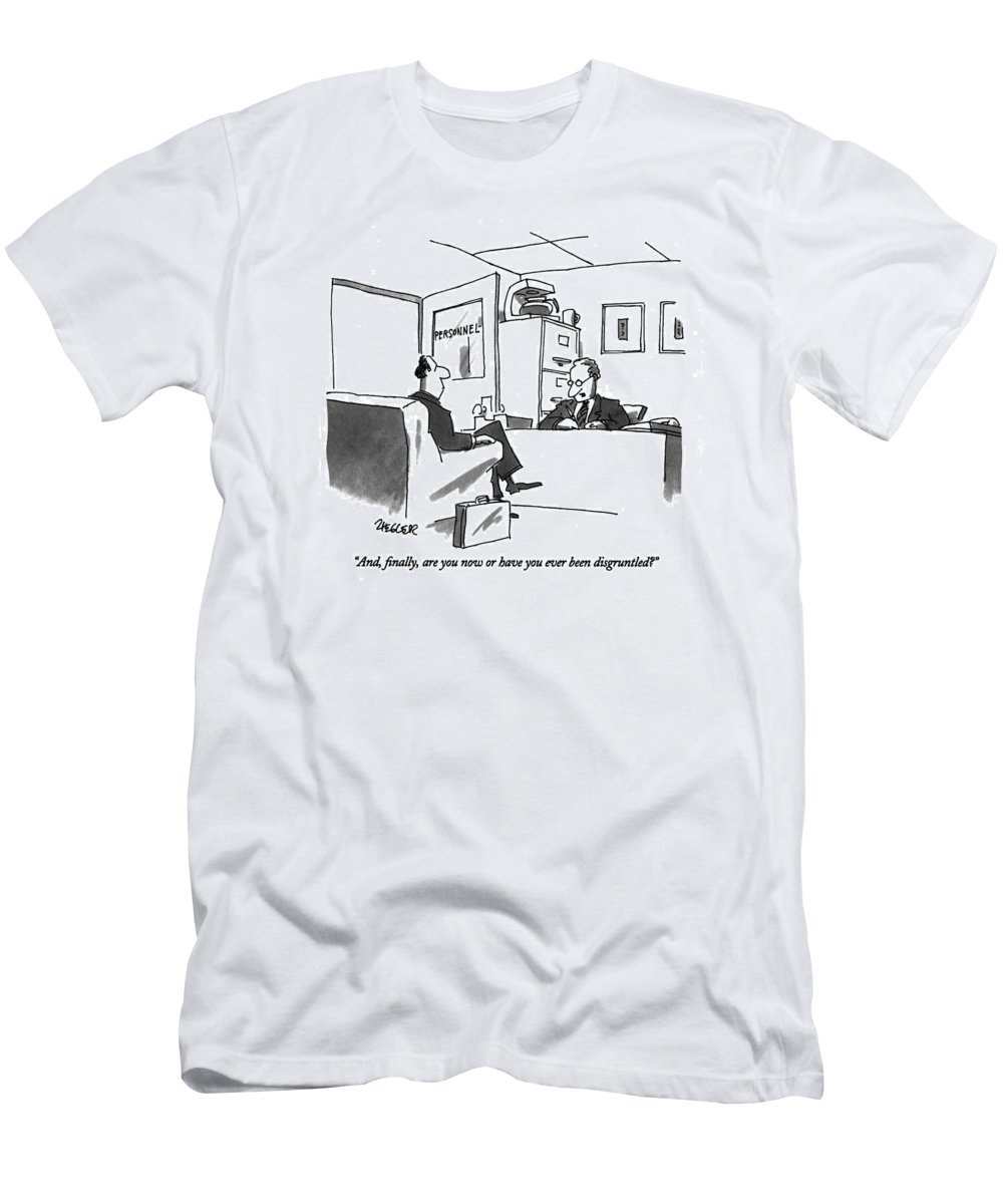 Business T-Shirt featuring the drawing And, Finally, Are You Now Or by Jack Ziegler