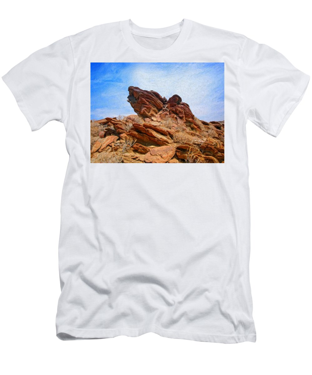 Desert Men's T-Shirt (Athletic Fit) featuring the painting Andreas Canyon by Dominic Piperata