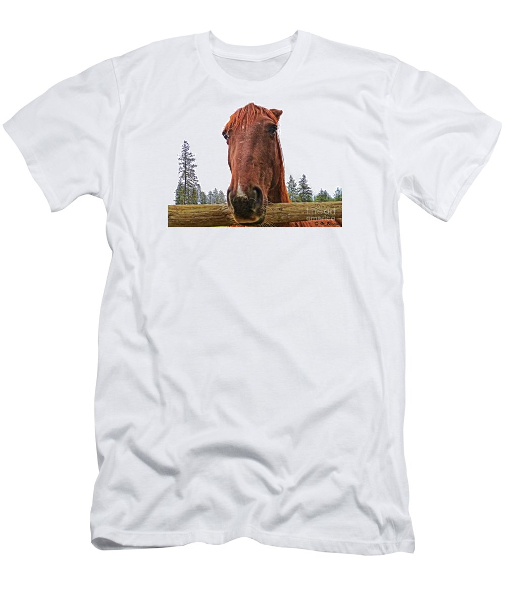 Horse Head Men's T-Shirt (Athletic Fit) featuring the photograph Angry Stallion by Vi Brown