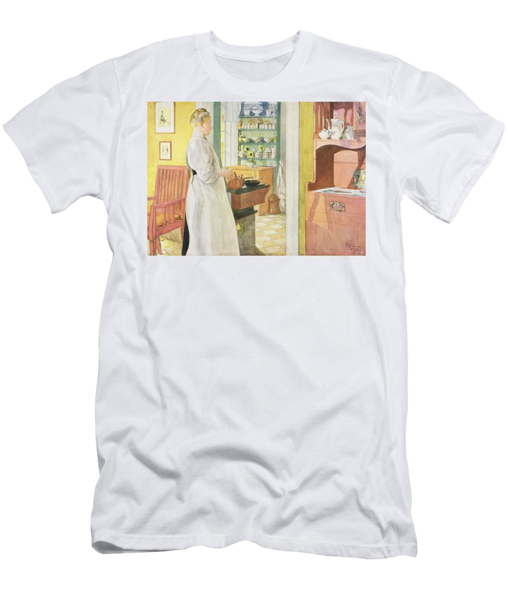 Cook Men's T-Shirt (Athletic Fit) featuring the painting Anna Arnbom , Pub. In Lasst Licht Hinin by Carl Larsson