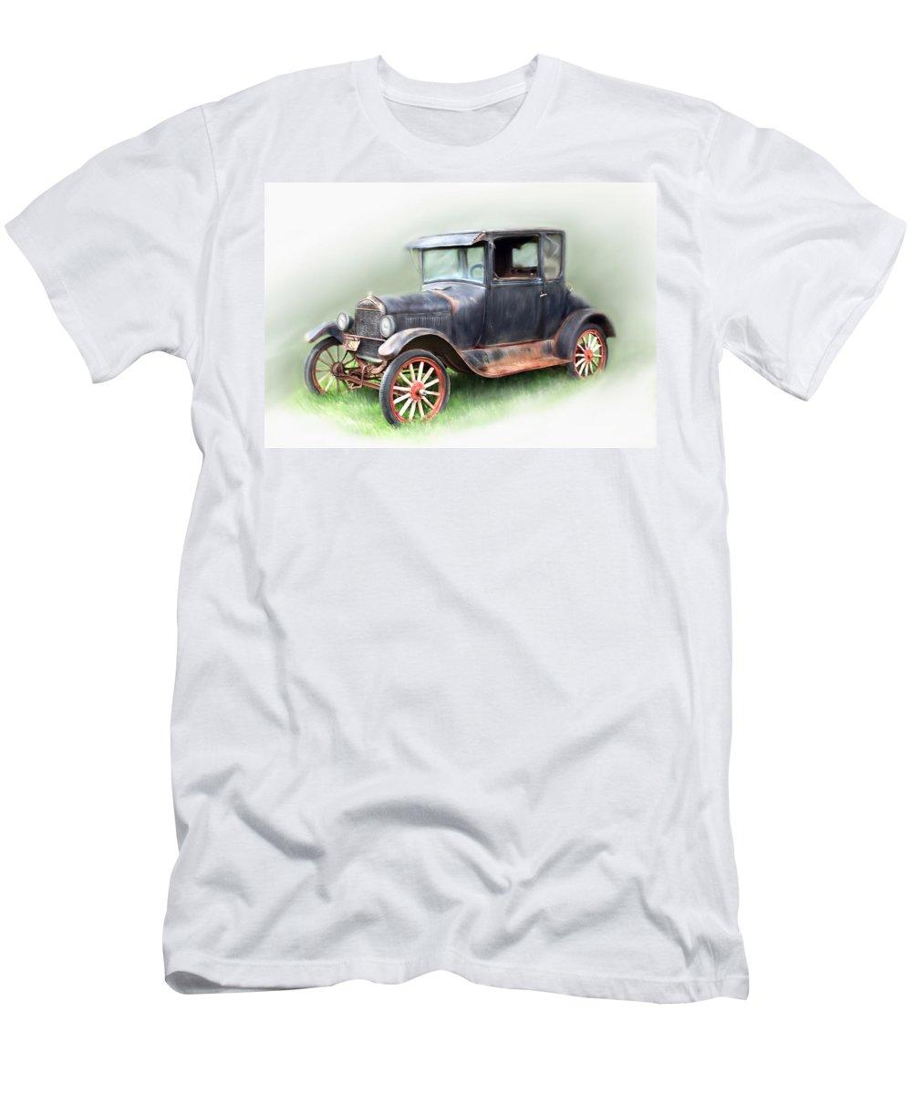 Model T Car Men's T-Shirt (Athletic Fit) featuring the painting Antique Car by Bonnie Willis