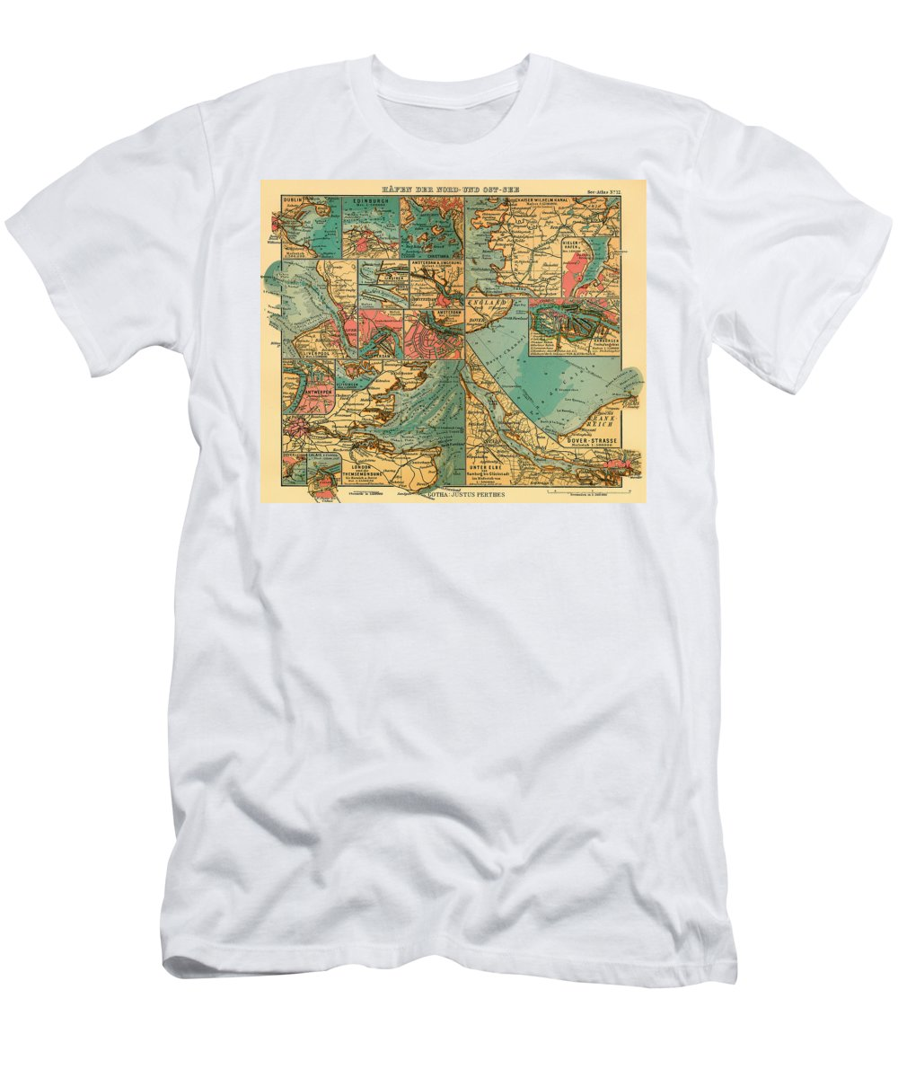 Map Men's T-Shirt (Athletic Fit) featuring the drawing Antique Map Of The Baltic And North Sea Ports by Mountain Dreams