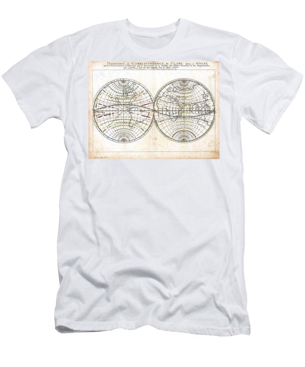 1659 Men's T-Shirt (Athletic Fit) featuring the photograph Antique World Map Harmonie Ou Correspondance Du Globe 1659 by Karon Melillo DeVega