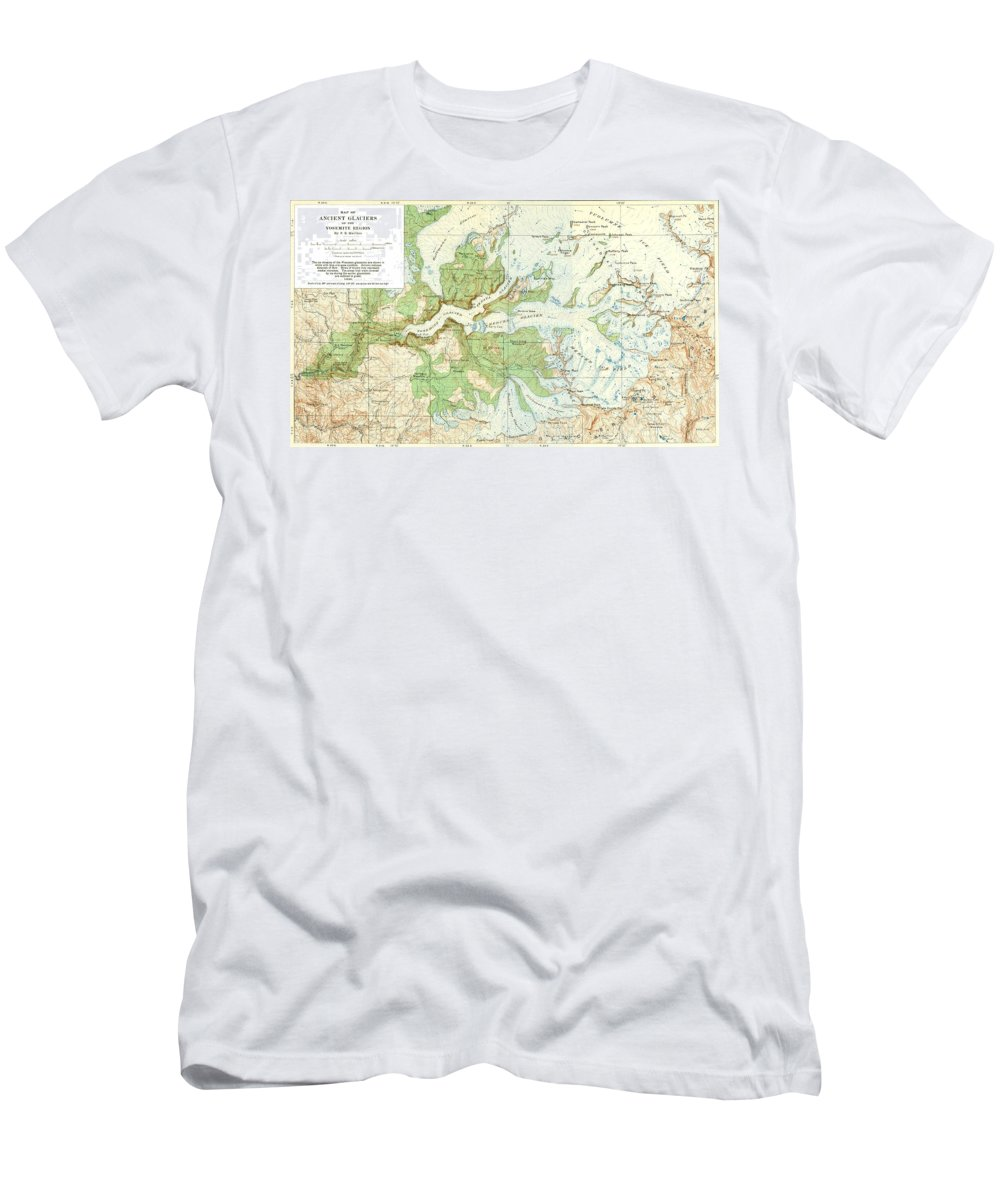 Antique Yosemite National Park Map Men's T-Shirt (Athletic Fit) featuring the digital art Antique Yosemite National Park Map by Dan Sproul