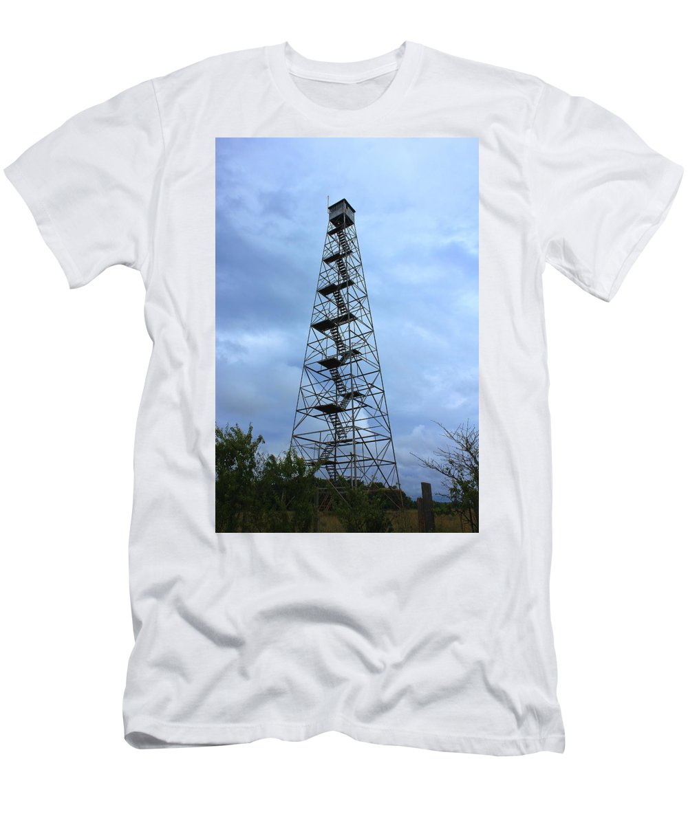 Reid Callaway Fire Tower Men's T-Shirt (Athletic Fit) featuring the photograph Apalachee Fire Tower In Morgan County by Reid Callaway