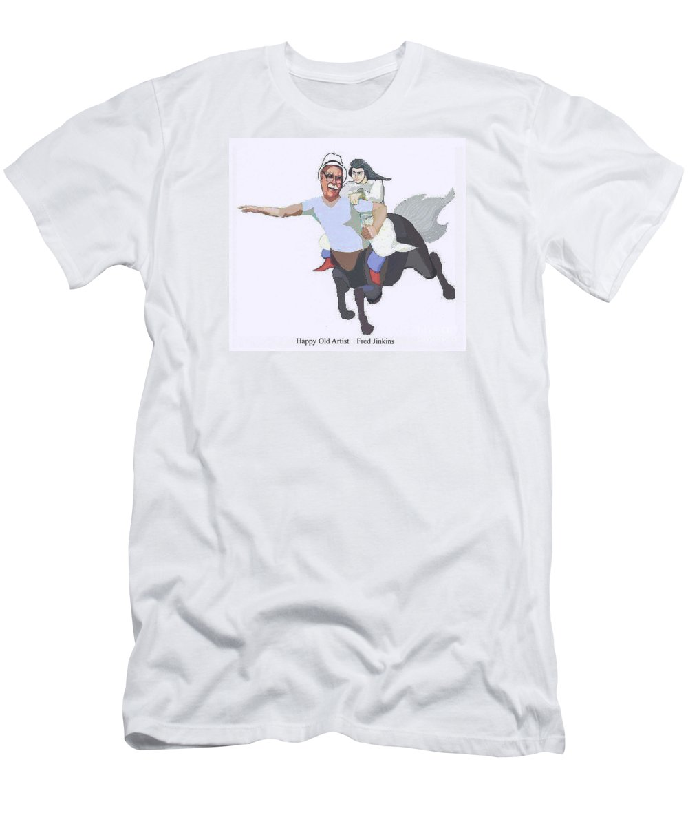 Aphrodite Men's T-Shirt (Athletic Fit) featuring the painting Aphrodite And Centaur by Fred Jinkins