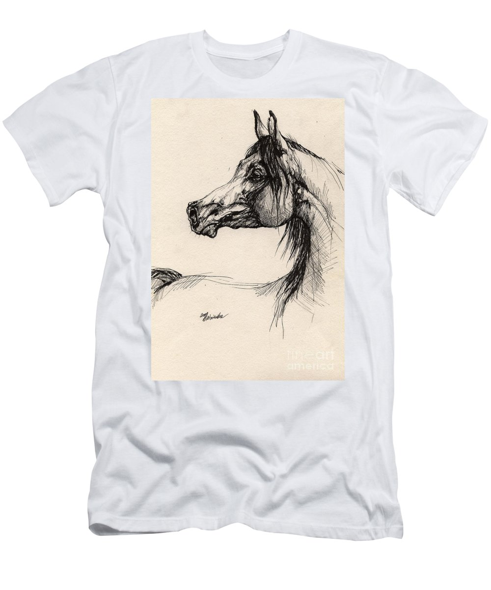 Horse Drawing Men's T-Shirt (Athletic Fit) featuring the drawing Arabian Horse Drawing 26 by Angel Ciesniarska